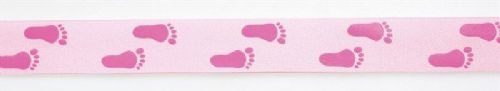 Pink Coloured Baby Feet Ribbon - 24mm